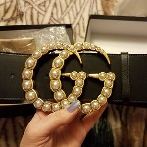 7cm Oversized GG Belt with Pearls